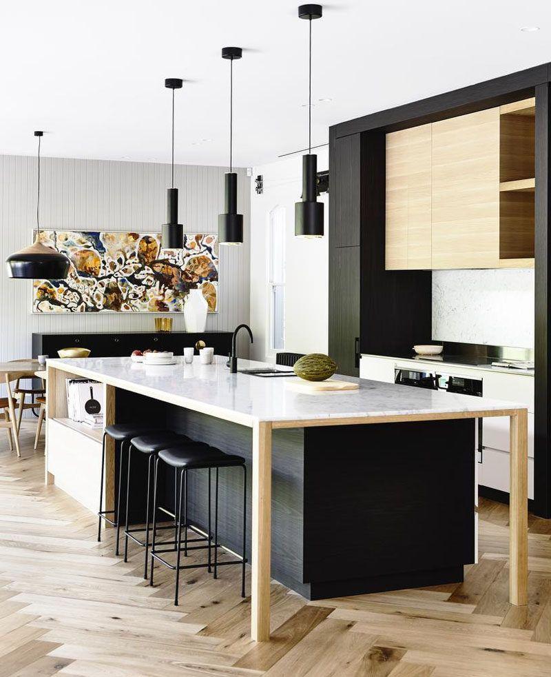 16 Inspirational Examples Of Herringbone Floors Modern Kitchen Design Interior Design Kitchen Modern Kitchen