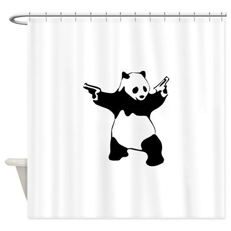 Panda Guns Shower Curtain By Ana M Curtains Panda Guns Design