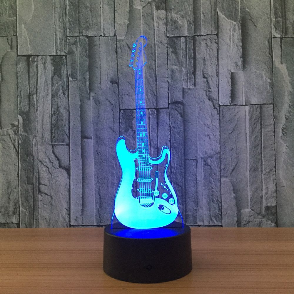 Creative 3d Light Electric Guitar Model Illusion 3d Lamp Led 7 Color Changing Usb Touch Creative 3d Light Electric Guitar Mod Led Night Light Night Lamps Lamp