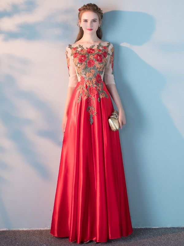 Floor Length Prom and Evening Gown has Colorful Floral