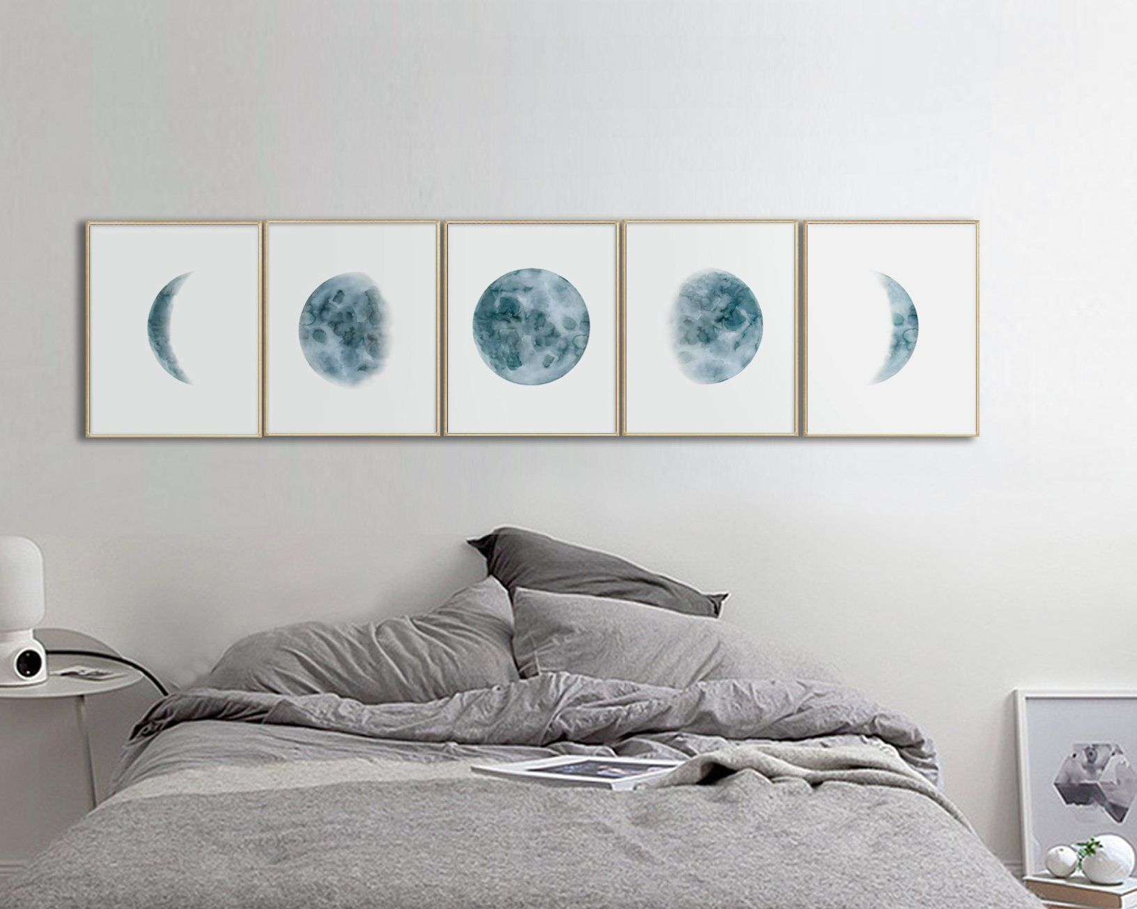 Moon phases wall art print watercolor prints bedroom wall decor