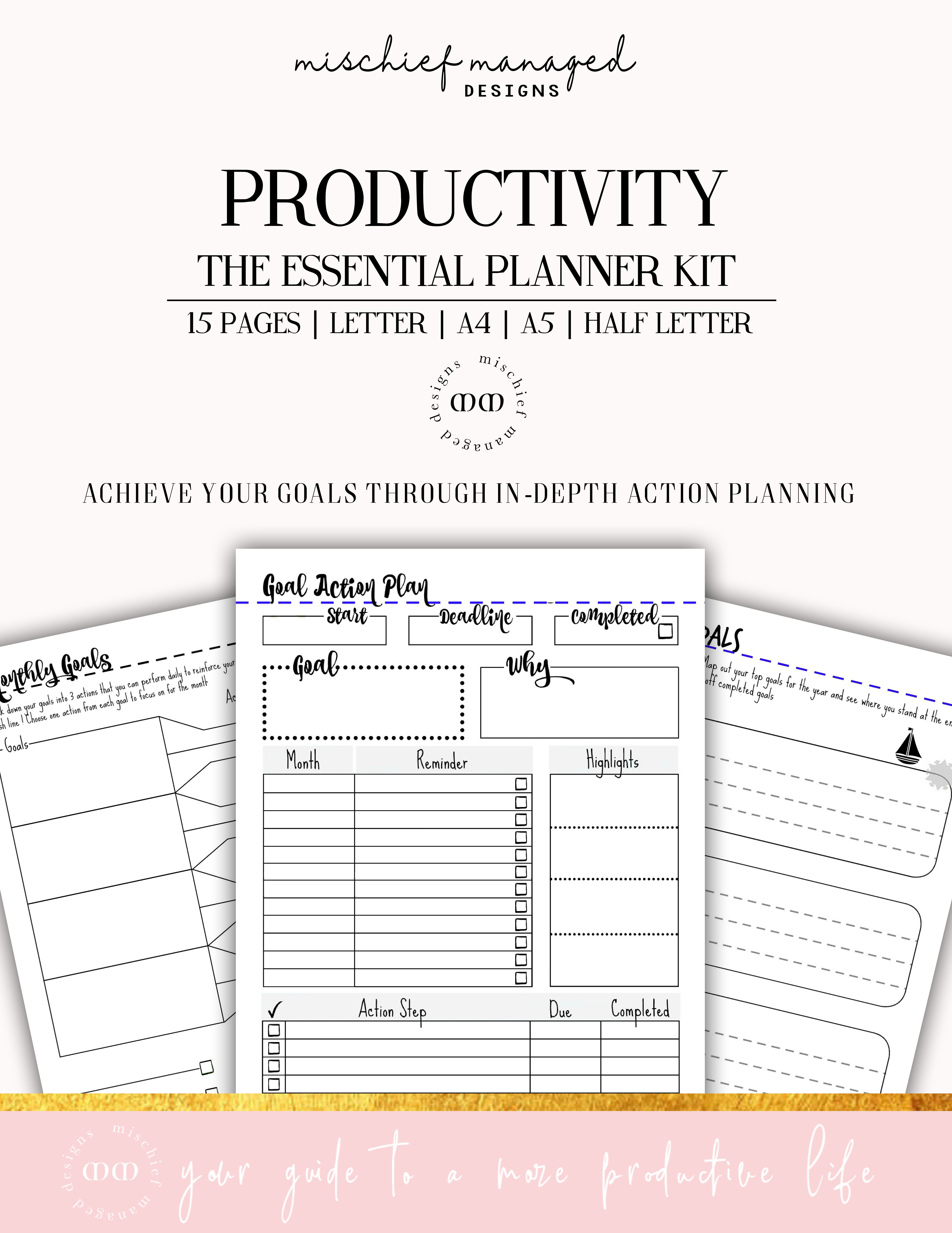 Productivity planner kit 15 pages a4 a5 half letter