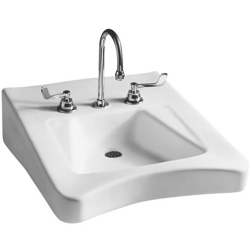 Elegant Mansfield Wheelchair Wall Mount Bathroom Sink With Overflow Faucet Mount:  Centers