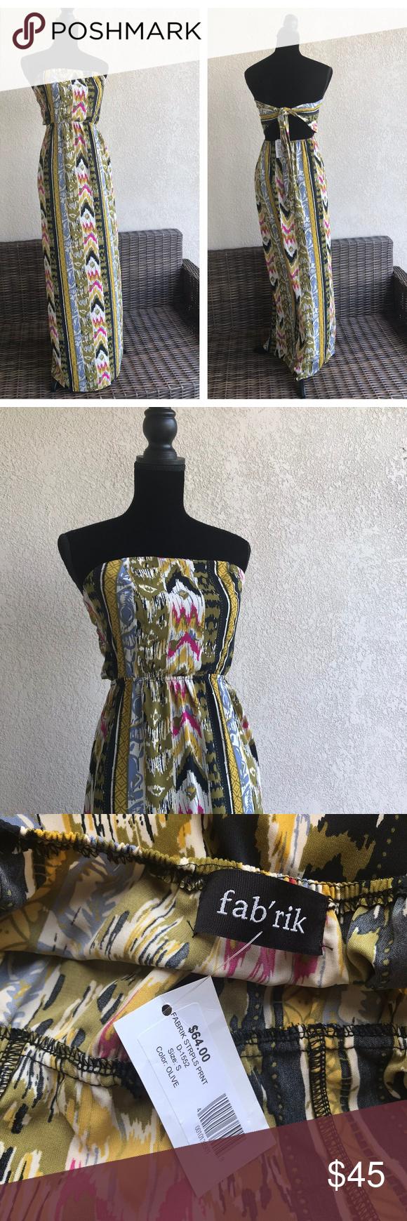 4ba528e537bcfc fab'rik Strapless Print Olive Dress Ties in Back S fab'rik Strapless Print
