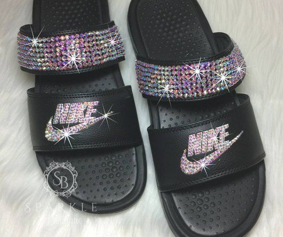 a4d326ca0d0a7 Swarovski Nike - Bling Nike Duo Slides - Bling Sandals - Crystal ...