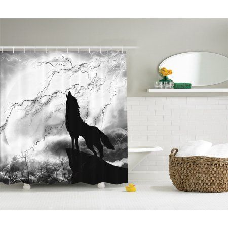 Black Wolf Silhouette Full Moon Mystic Night Gray White Fabric Shower Curtain
