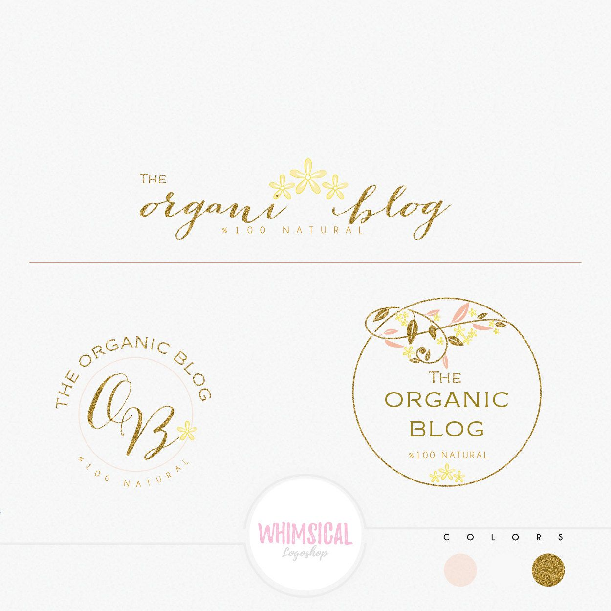 Whimsical Leaves Circle Frame Premade Photography Logo