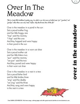 Over In The Meadow An Inclusive Counting Song Free Lyric Sheet Free Lyrics Music Activities For Kids The Meadows