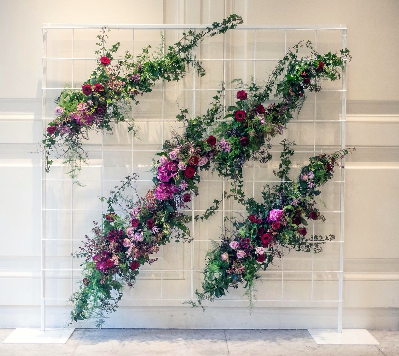 Flower Wall Wedding Altar: Flower Wall. Wild Climbing Florals & Foliage Over A White