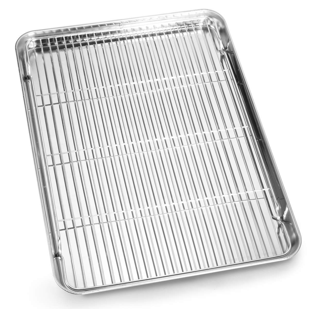 Bastwe Cookie Sheet And Cooling Rack Set 16 Inch Stainless Steel