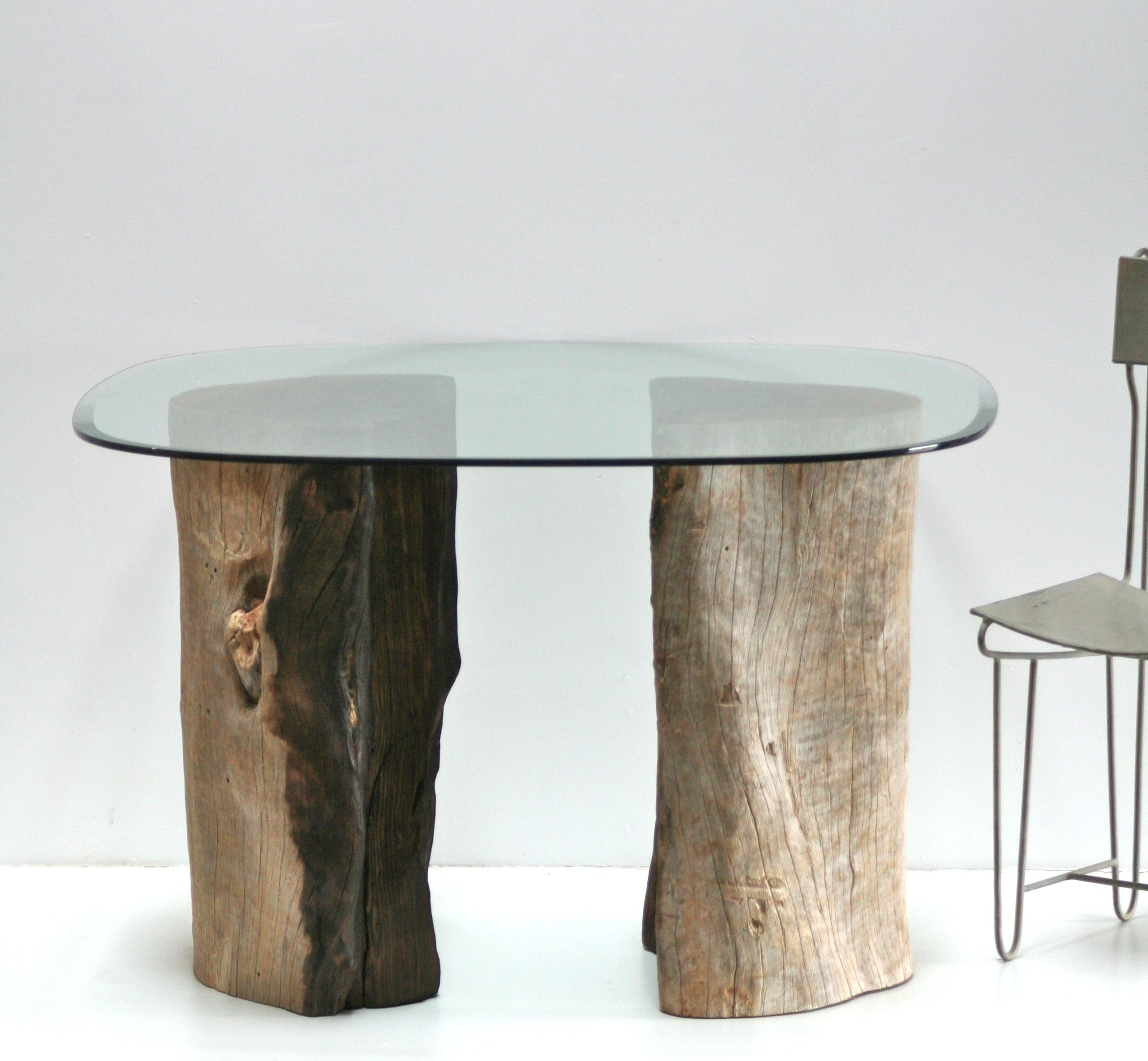 Dining table organic tree stump trunk table bases rescued for Tree trunk dining table