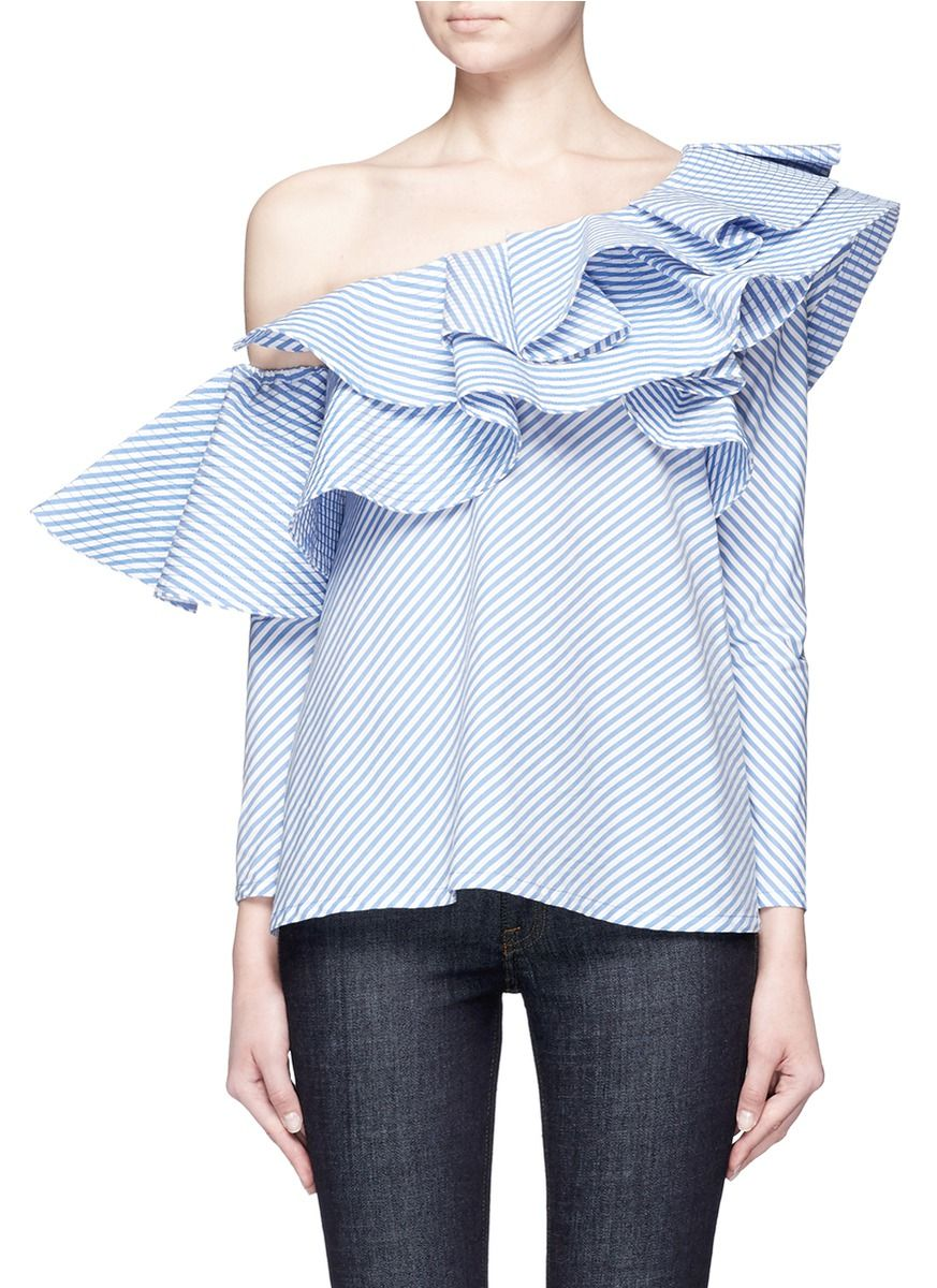 f7a0c1e4112 JOHANNA ORTIZ - 'Anastasia' one-shoulder stripe ruffle top | Multi-colour Long  Sleeve Tops | Women | Lane Crawford - Shop Designer Brands Online