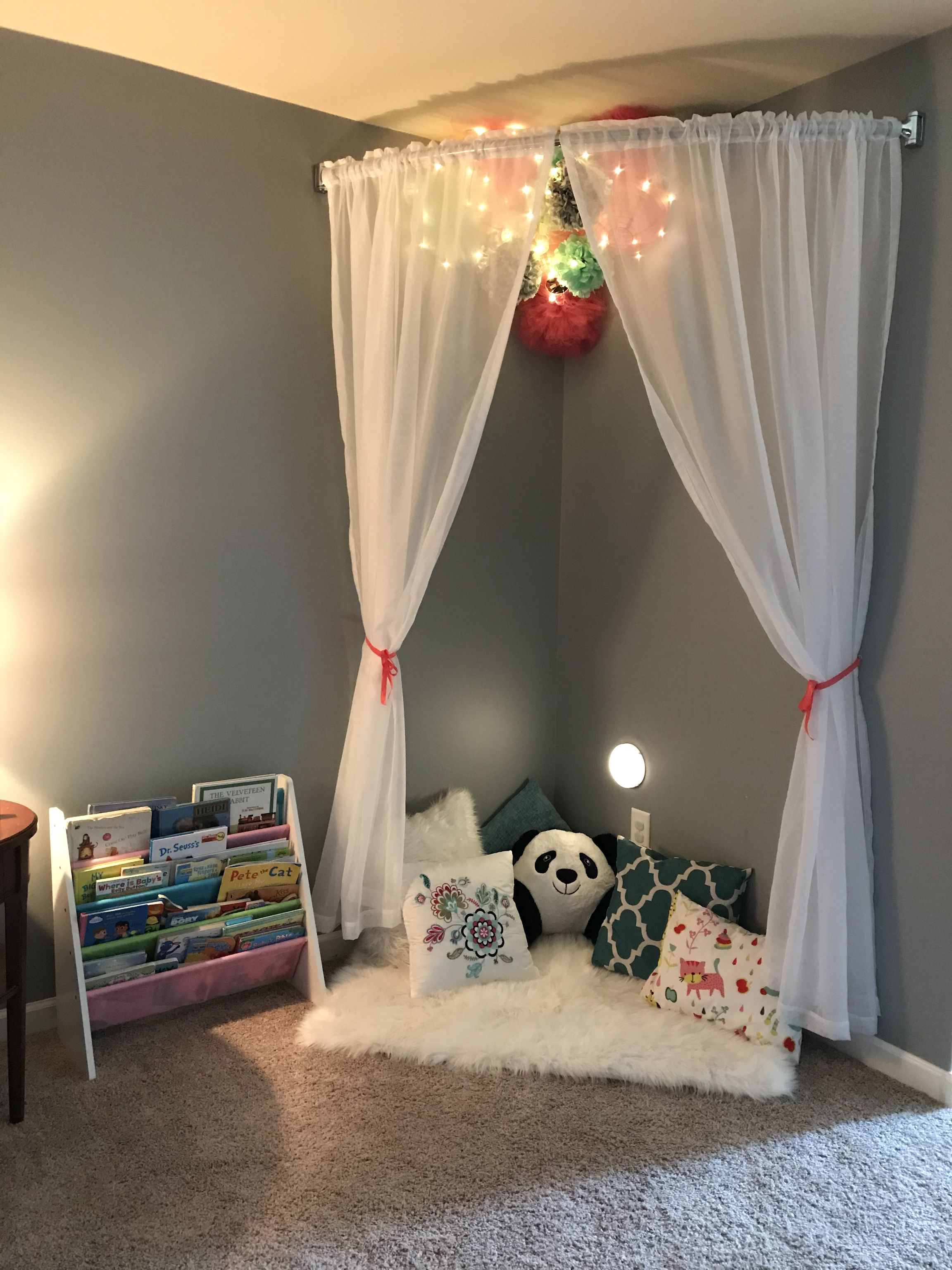 Reading Nook I Created For My 2 Year Old Toddler Bedroom Girl Girl Room Toddler Rooms