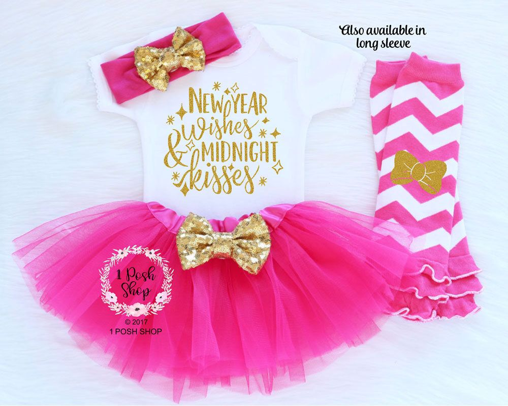 New Year Wishes Midnight Kisses Baby 1st New Year Baby First New Year Outfit Girl B First Birthday Outfit Girl Birthday Girl Outfit First Birthday Outfits