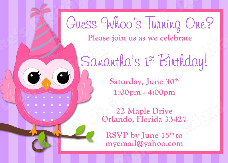Childern Girls Birthday Invitations | Victoria Owl Birthday ...