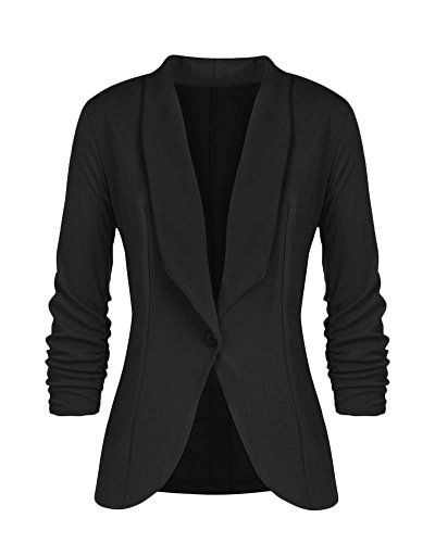 6e6ae503408c Blazer Donna Elegante Manica Lunga Slim Fit Ufficio Business Tailleur  Giacca Giacche Coat Jacket Nero L