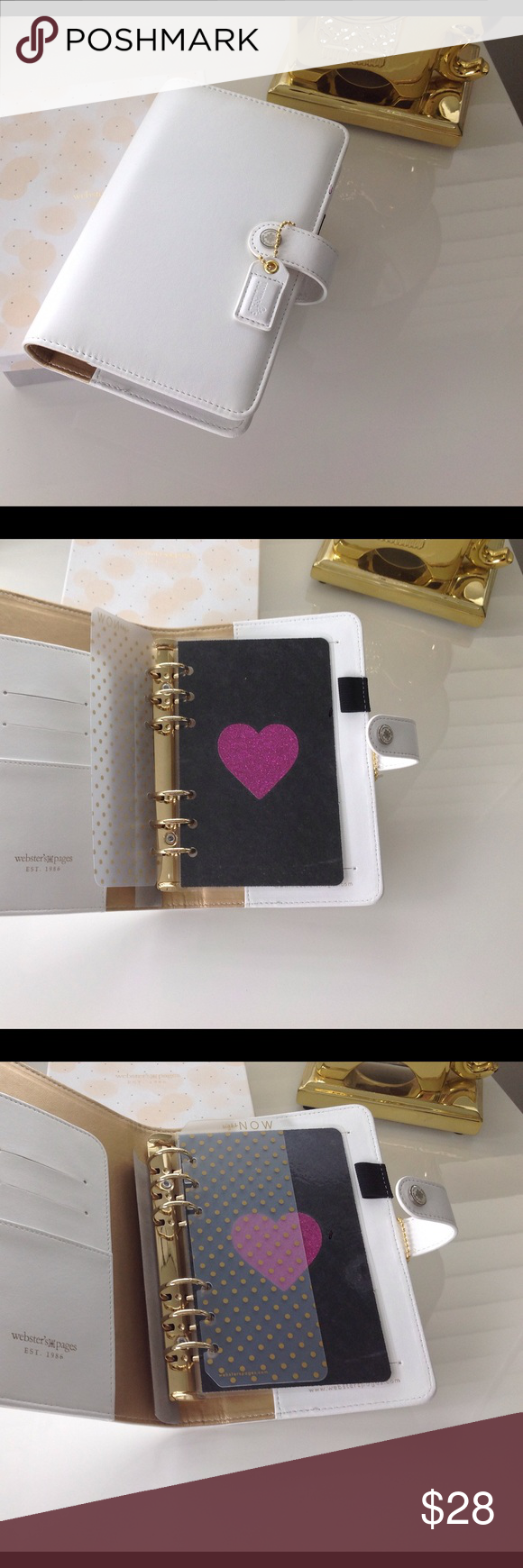 "Brand New White Agenda 💗💞💗 Brand New, no tags. Pretty White Agenda by Webster. It comes with one divider. It's 8"" X 5"" with 6 rings, all the rings are tight with no gap. It has slots for cards also.💗💞💕 Webster Accessories Key & Card Holders"