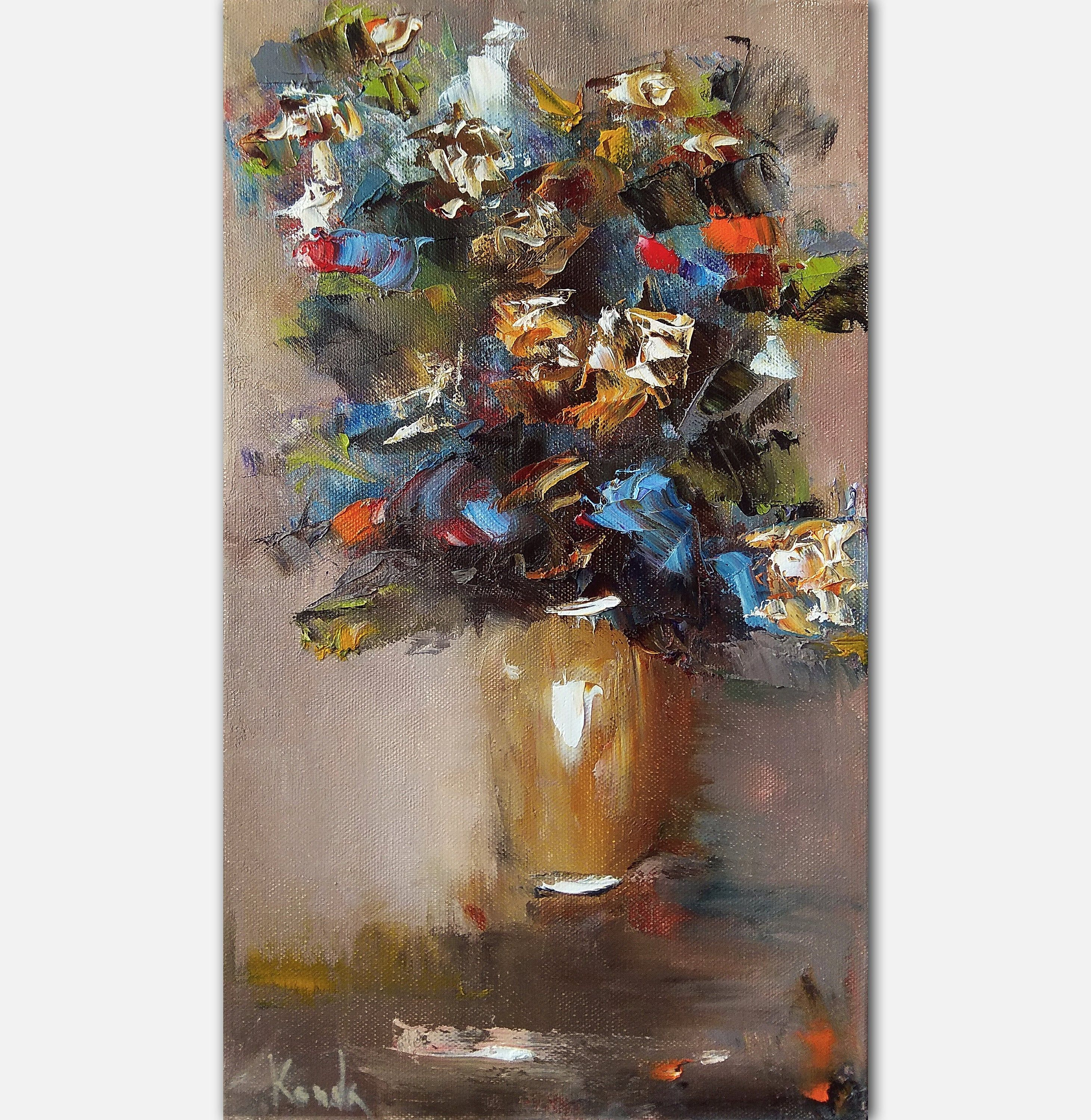 Tall Narrow Flowers Oil Painting On Canvas Wildflowers In Vase Etsy Oil Painting Flowers Abstract Floral Painting