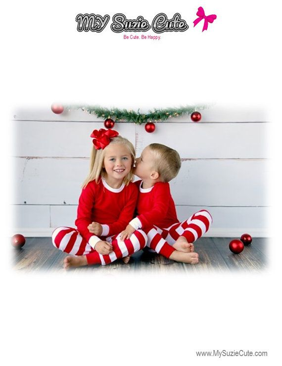 IN-STOCK 2018 Family Christmas Pajamas in Red White Stripe with