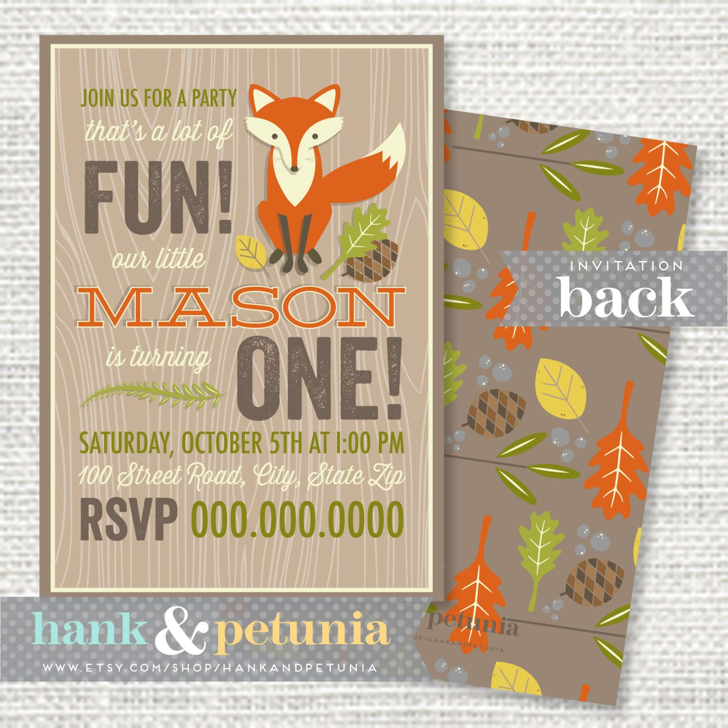Printable Woodland First Birthday Party By Hankandpetunia On Etsy