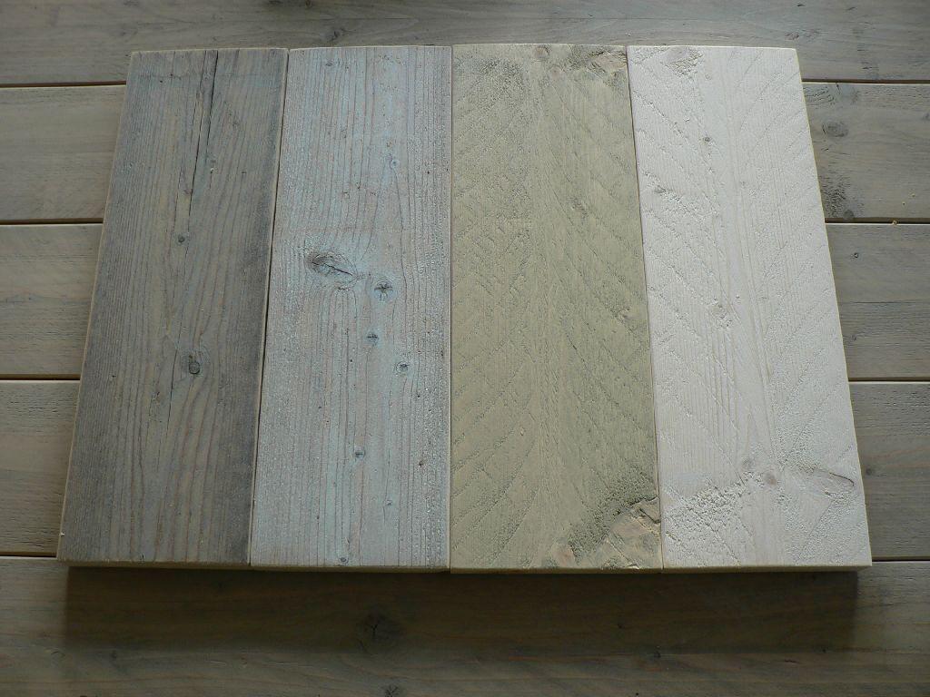 Steigerhoutbeits greywash en whitewash op gebruikt  nieuw