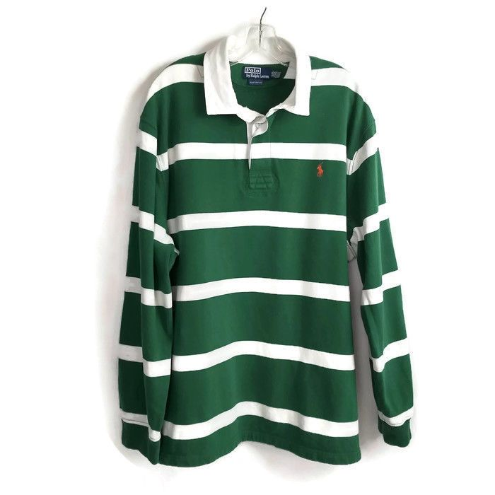 Vintage Polo Ralph Lauren Rugby Shirt Size L Striped Green