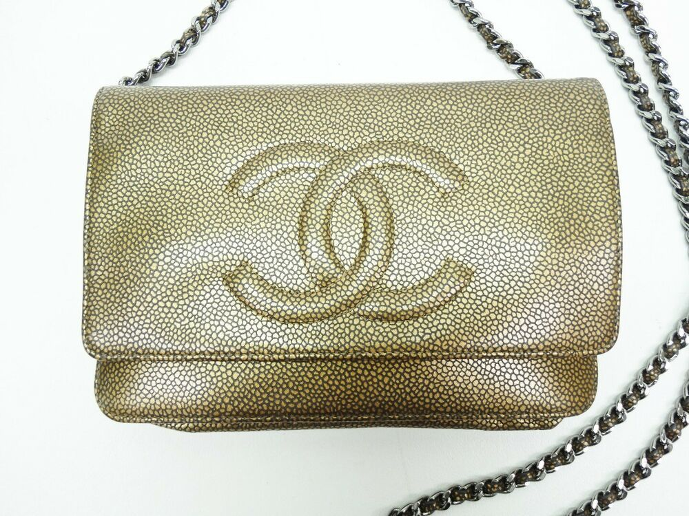 3d7521f5d1d9 Chanel Timeless Mini Sac Gold Black Print Leather WOC Wallet on Chain RARE