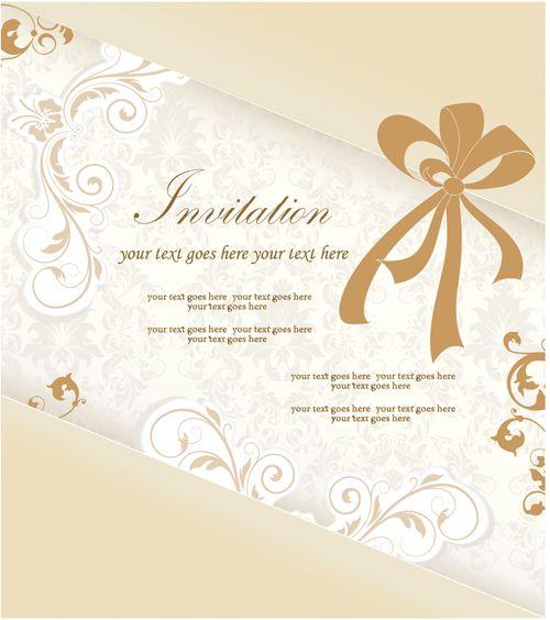 Floral Elegant Invitation Cards Vector Set  Free  Template