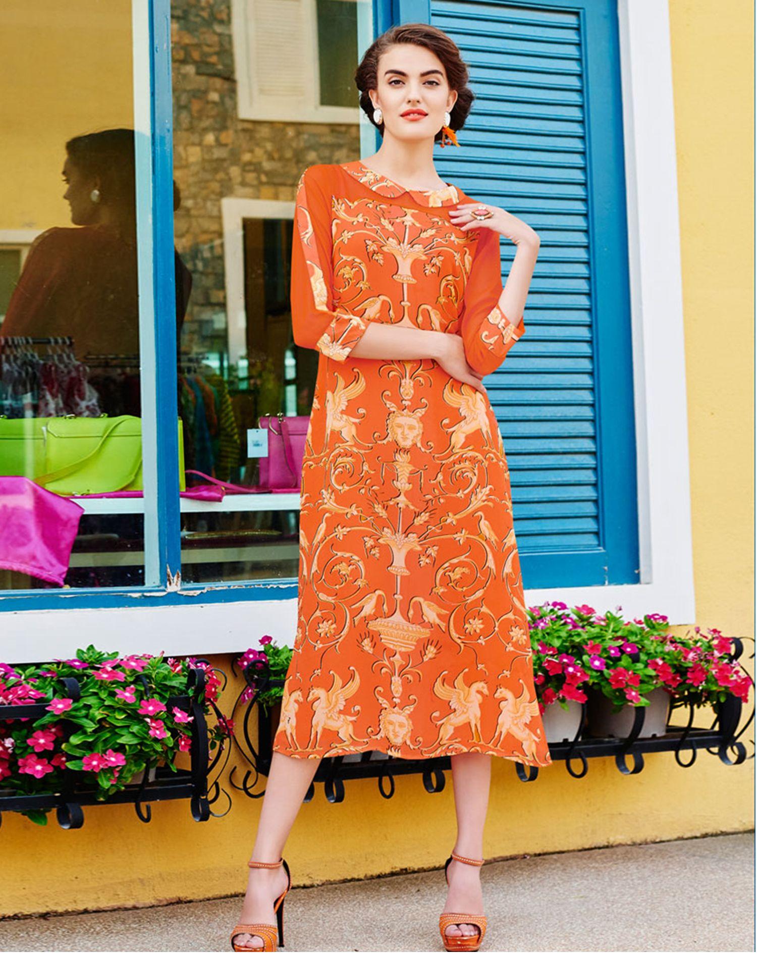 Buy Orange Orange Georgette Kurta for women Online  At Flash Sale   Styletag, India
