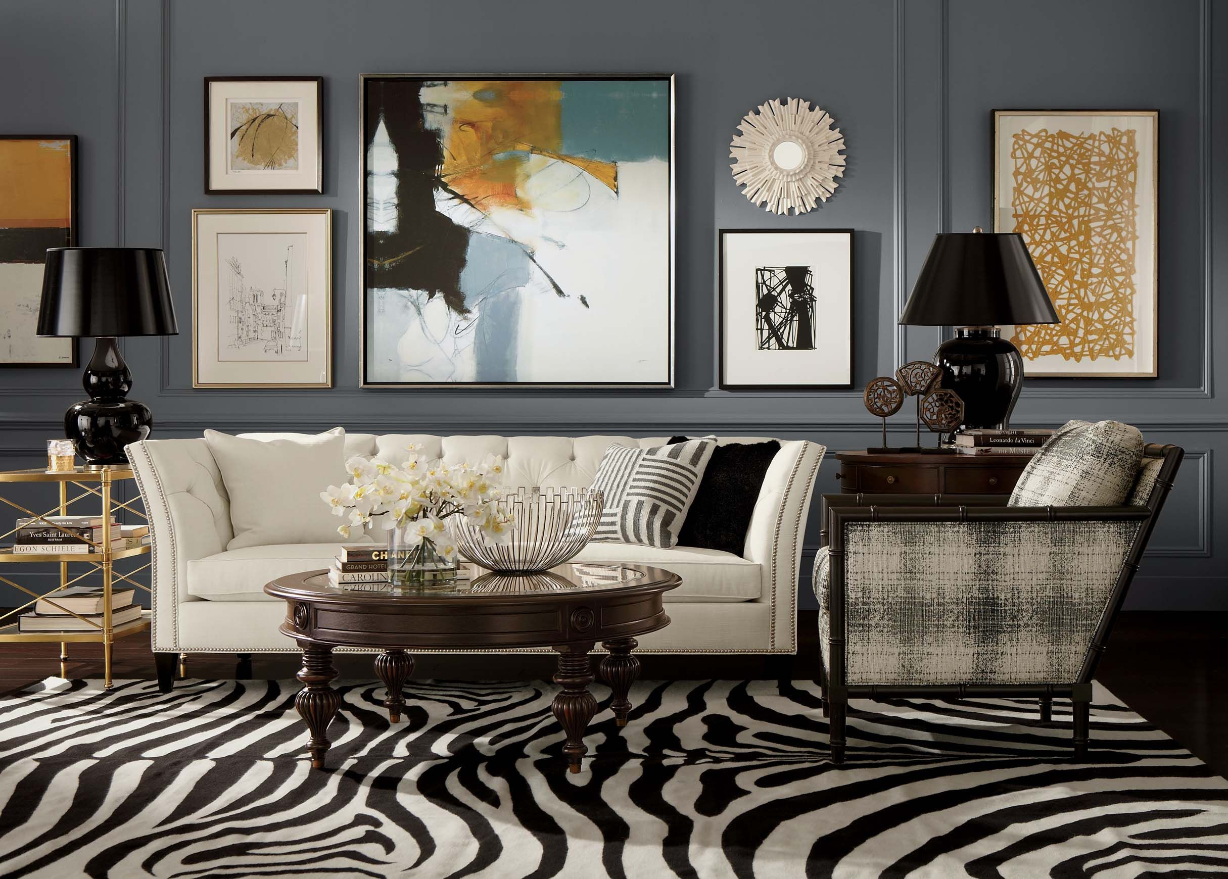 This ethan allen zebra rug in expresso ivory gives this for Living room paper ideas
