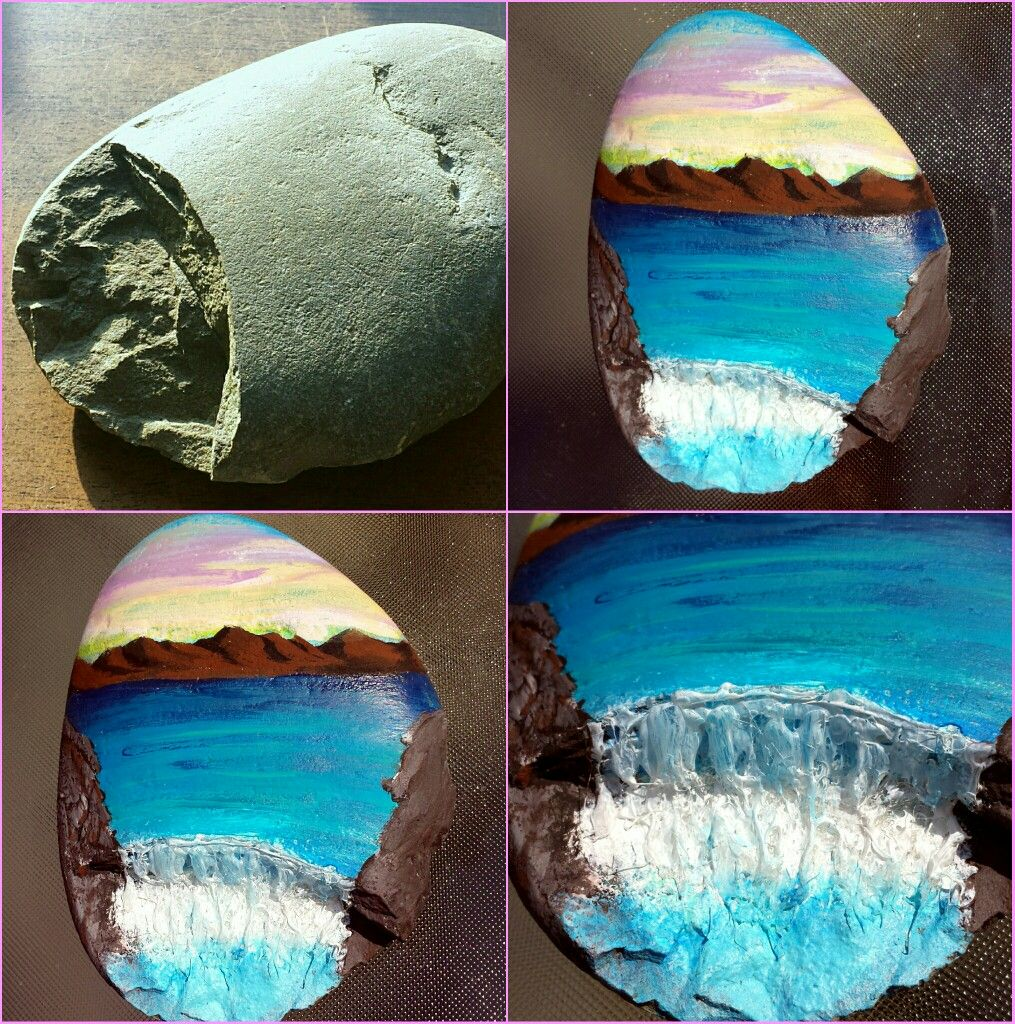 Rock Painting Before After Chipped Rock Idea Waterfall Mountains Ocean Painted Rocks Waterfall Paintings Rock Painting Tutorial