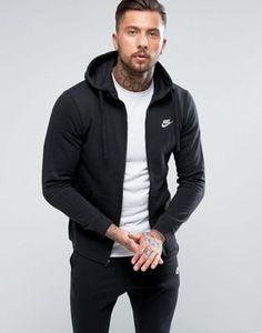 Nike Club zip up hoodie in black 804389 010 in 2019 | Nike
