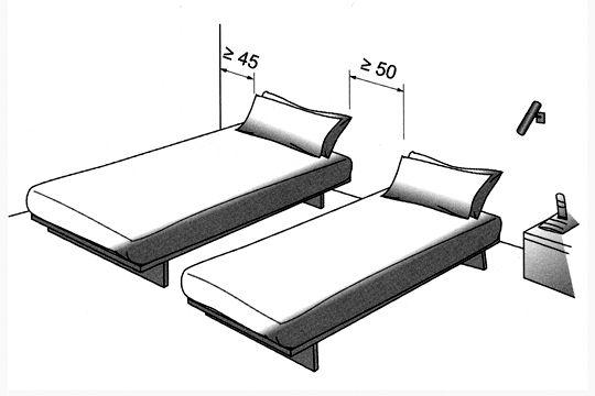 Plan chambre  où mettre le lit dans la chambre ? Deux lits - plan maison avec cotation