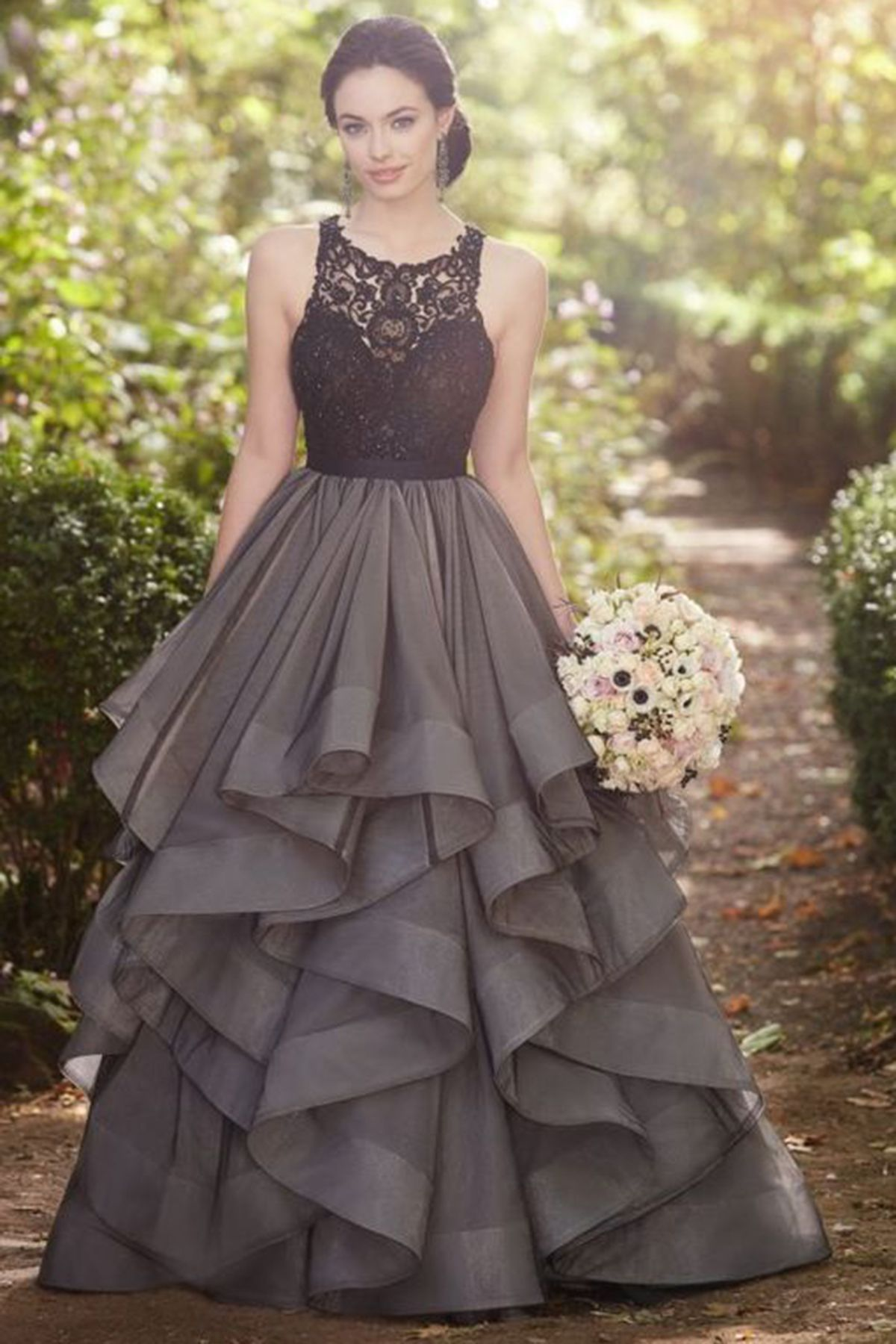 Black tulle lace aline long dressprom dress for graduation from