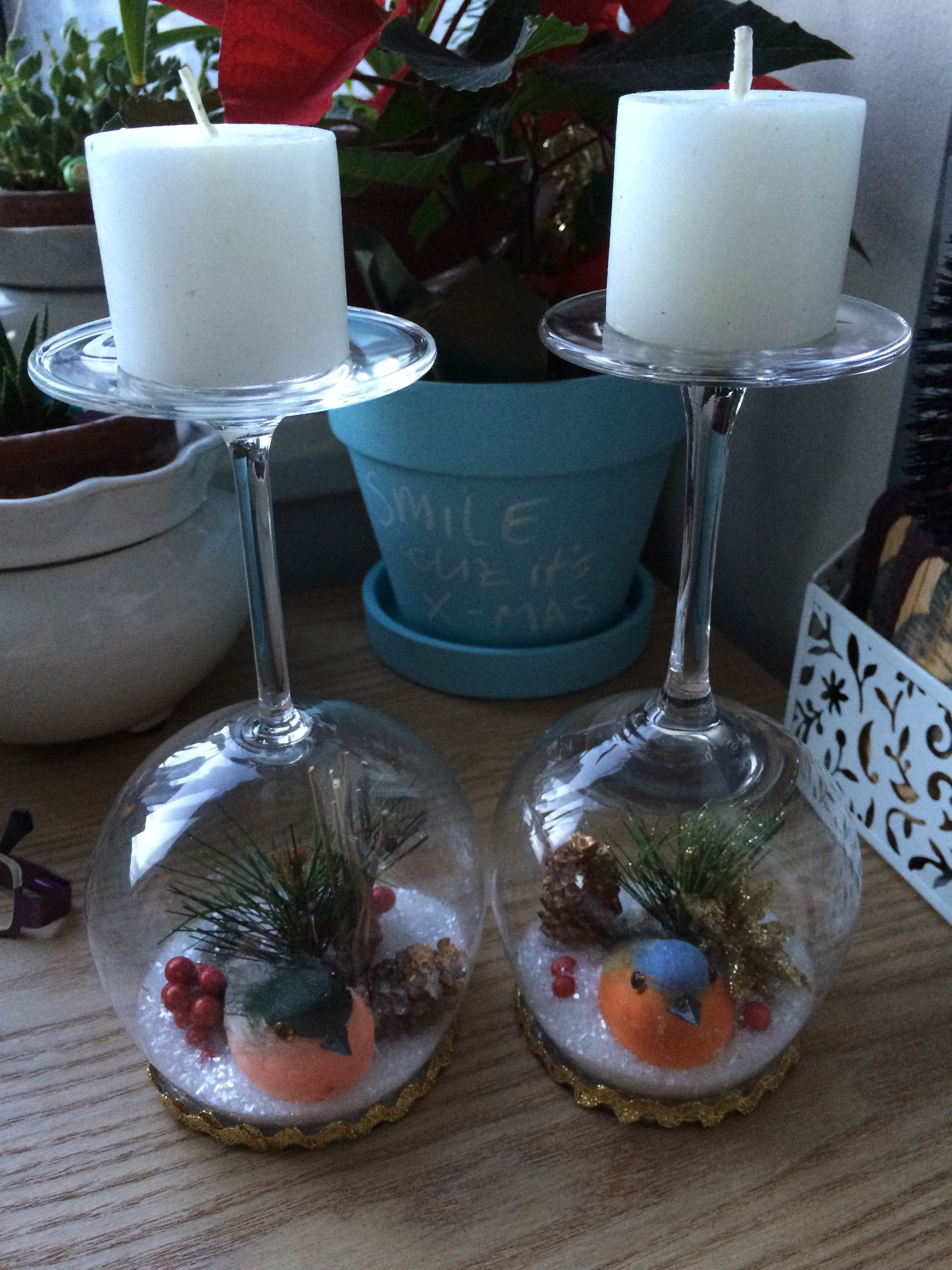 Waterless Snow Globes Made From Wine Glasses Christmas Wine Glasses Wine Glass Crafts Christmas Jars