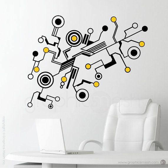 wall decals medium tech shapes abstract circuit shaped vinyl art