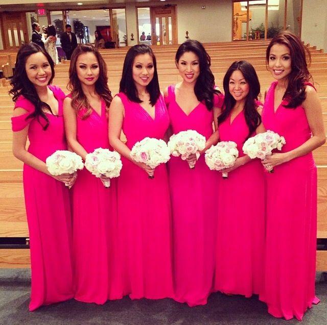 Navy and Fuschia Bridesmaid Dresses