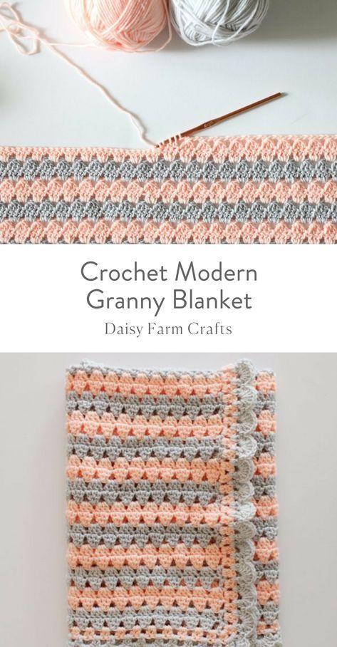 Free Pattern - Crochet Modern Granny Blanket   CROCHETE   Pinterest ...