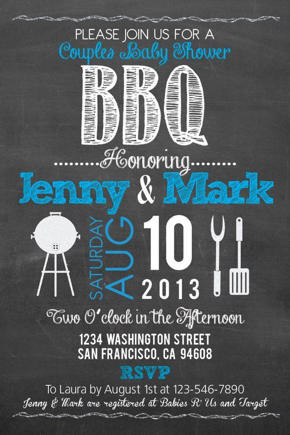 Printable BBQ Baby Shower Chalkboard Style 4x6 or 5x7 Invitation-DIY