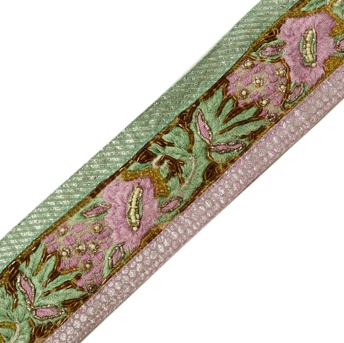 Vintage Saree Border Indian Craft Trim Hand Beaded Embroidered Ribbon Lace