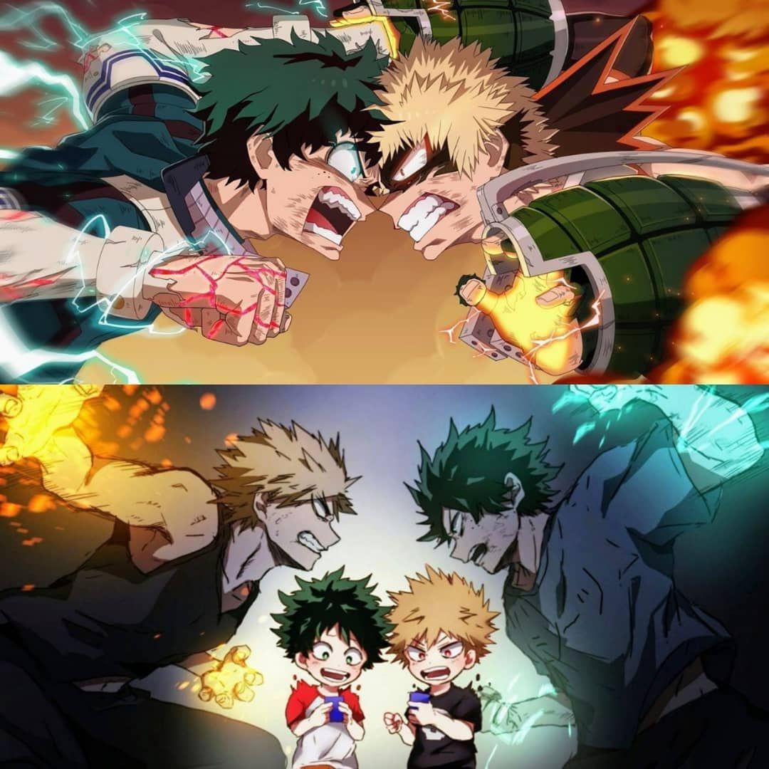Ka Chan Deku Katsuki Bakugou Midoriya Izuku Bokunoheroacademia Myheroacademia Hero Heros Friends Friend Riva Anime My Hero Hero Wallpaper