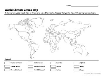 World Climate Zones Map Worksheet | | Social Studies • High