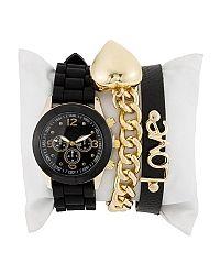 Hannah Black Watch and Bracelet Set