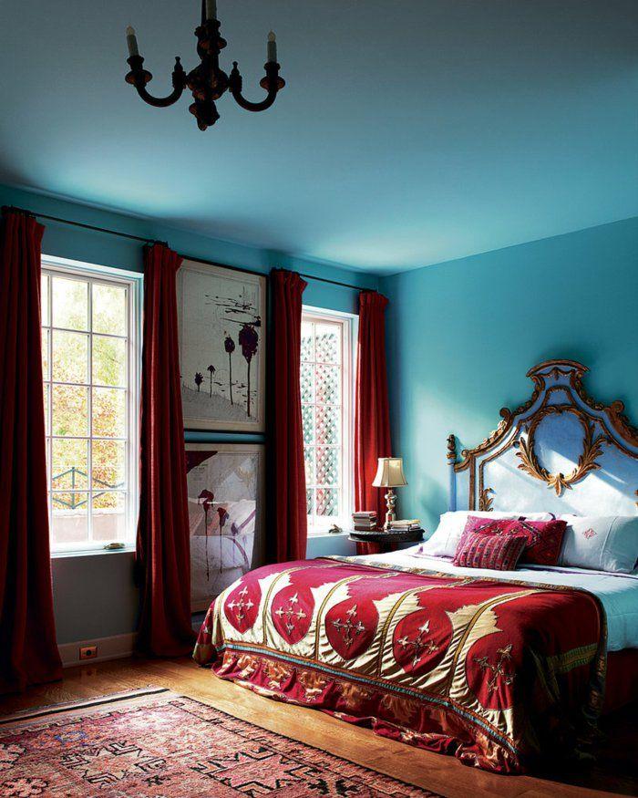 wohnideen schlafzimmer hellblaue wände rote akzente teppich ... - Wohnideen Schlafzimmer Farbschema