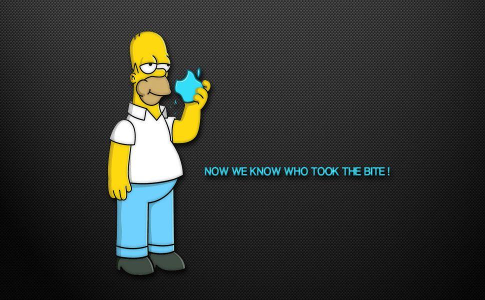 Homer Stealing Donut Apple Logo Hd Wallpaper Homer Simpson The Simpsons Homer
