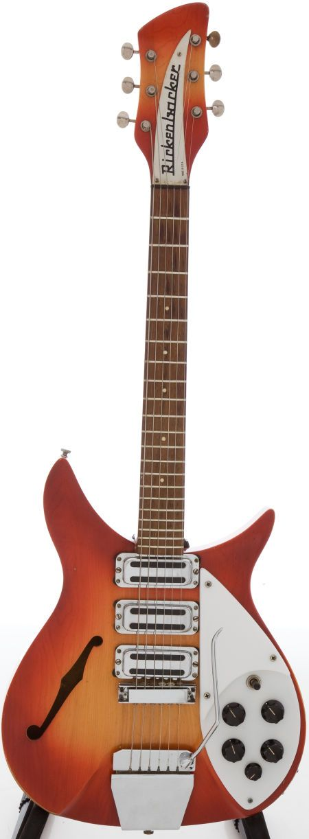 Expect this high condition Rose Morris UK import to break the value barrier! The very rare two o'clock position F-hole 325 in this 1964 Rickenbacker 325, is just like John Lennon's, only not black. Estimate: $10,000  up at Heritage Auctions