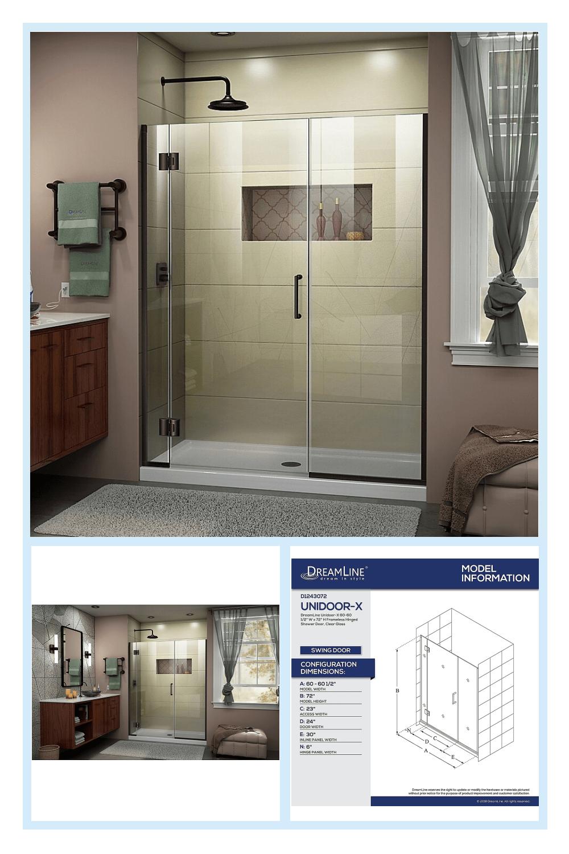 Dreamline Unidoor X 60 60 5 X 72 Frameless Hinged Shower Door In Bronze Oil Rubbed Bronze Frameless Hinged Shower Door Shower Doors Bathroom Remodel Shower 60 x 72 shower door