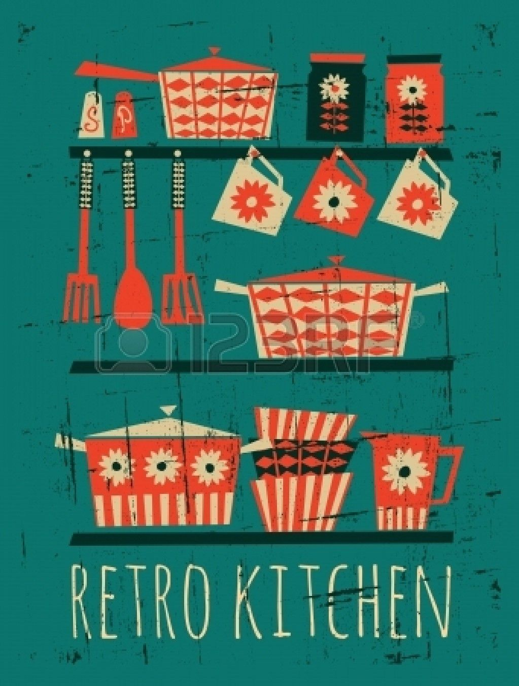 Stock Vector Kitchen Posters Retro Kitchen Retro Poster