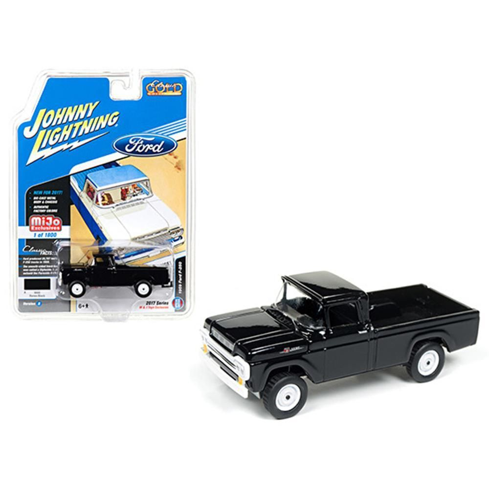 1959 Ford F 250 Pickup Truck Black Classic Gold 1 64 Diecast Model Toy