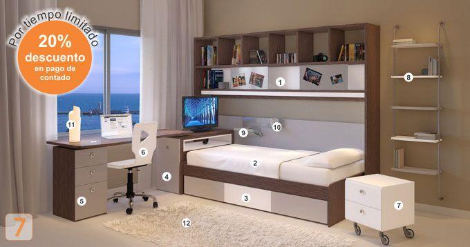 Mueble: (Código C33-11) cama-cajonera-escritorio-biblioteca-sillas ...
